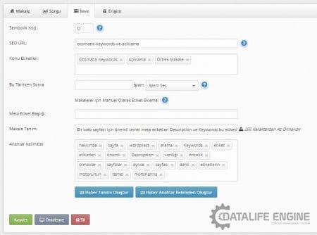 Site üzerinden eklenen konularda da otomatik olarak anahtar kelimeler ve meta açıklamalar oluşturulması