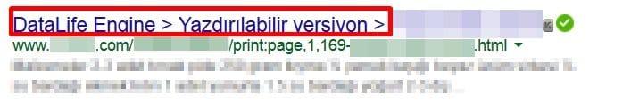 Etiketleri Kaldırdım, Google'da Böyle Görünüyorum