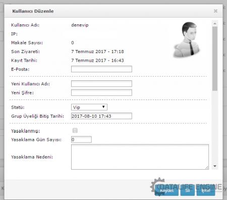 Kullanıcı gruba üyelik bitiş tarihi eklenmiyor