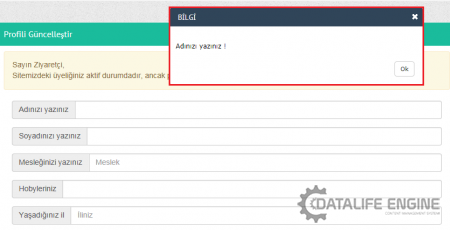 DLE form validation (form doldurma zorunluluğu getirme)
