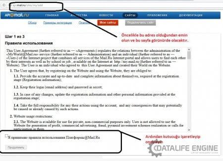 DLE 10.3 Mail.Ru ile giriş (üyelik) aktif etme
