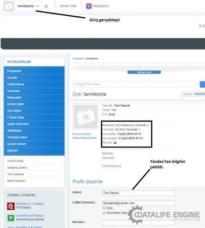DLE 10.3 Yandex ile giriş (üyelik) aktif etme