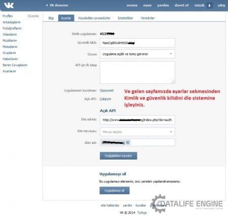 DLE 10.3 VK ile giriş (üyelik) aktif etme