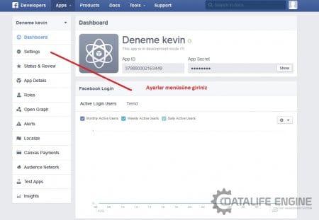 DLE 10.3 Facebook ile giriş (üyelik) aktif etme